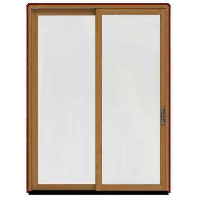 72 in. x 96 in. W-2500 Contemporary Red Clad Wood Right-Hand Full Lite Sliding Patio Door w/Stained Interior