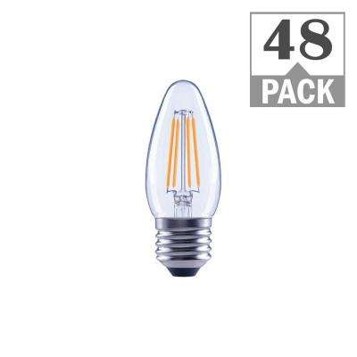 40-Watt Equivalent B11 Dimmable ENERGY STAR Clear Filament Vintage Style LED Light Bulb Soft White (48-Pack)