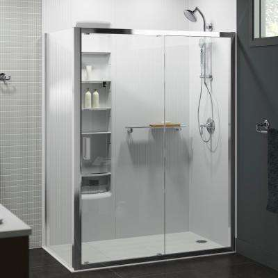 Aerie 59.4375 in. x 75 in. Frameless Corner Sliding Shower Door in Bright Polished Silver