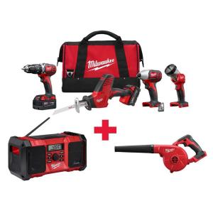 Milwaukee M18 18-Volt Lithium-Ion Cordless Combo Kit (4-Tool) with Free M18 Radio and M18 Blower by Milwaukee
