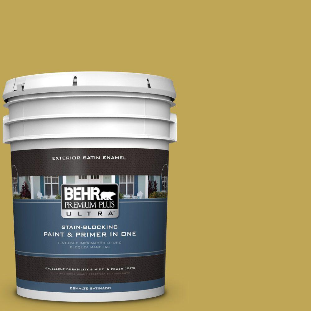 BEHR Premium Plus Ultra 5-gal. #PPU6-18 Lemongrass Satin Enamel Exterior Paint