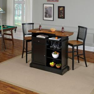 Home Styles Americana 3 Piece Black And Oak Bar Table Set 5003 998 The Depot