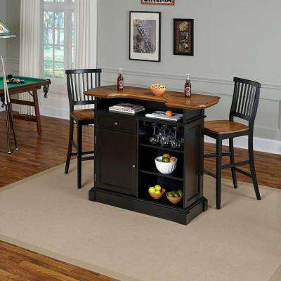 Americana 3-Piece Black and Oak Bar Table Set