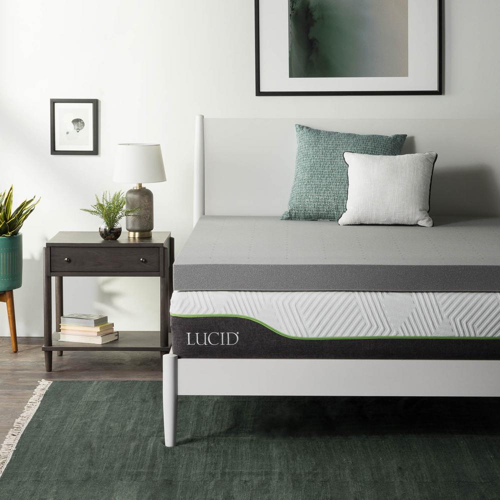 lucid 4 in queen bamboo charcoal memory foam mattress topper hdlu40qq30bt the home depot. Black Bedroom Furniture Sets. Home Design Ideas