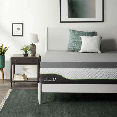 4 in. Queen Bamboo Charcoal Memory Foam Mattress Topper