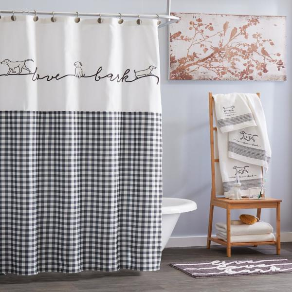 Unbranded Farmhouse Dogs 72 In Black Shower Curtain U2177000200001 The Home Depot