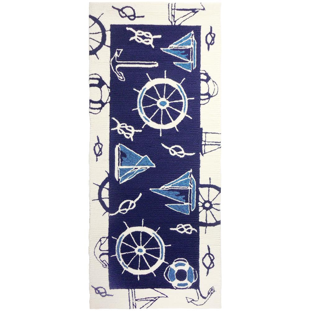 Blue and White Nautical Blue 2 ft. x 5 ft. Indoor/Outdoor