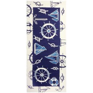 Blue And White Nautical Blue 2 Ft X 5 Ft Indoor Outdoor