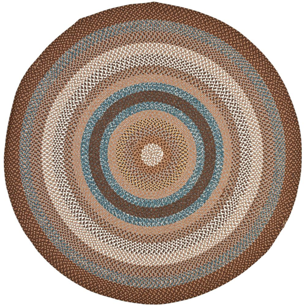 Safavieh Braided Brown Multi 4 Ft X 4 Ft Round Area Rug