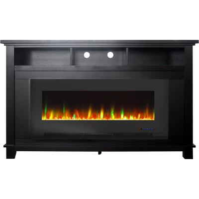 San Jose 58 in. Freestanding Electric Fireplace Entertainment Stand in Black with 50 in. Insert and Crystal Rock Display
