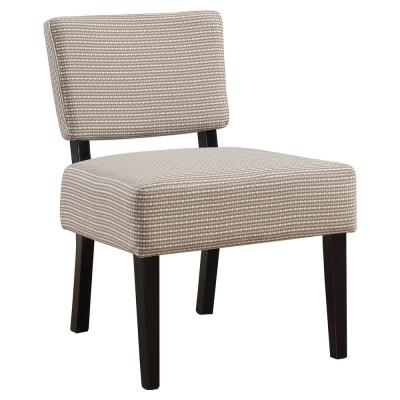 Light/Dark Taupe Abstract Dot Fabric Accent Chair