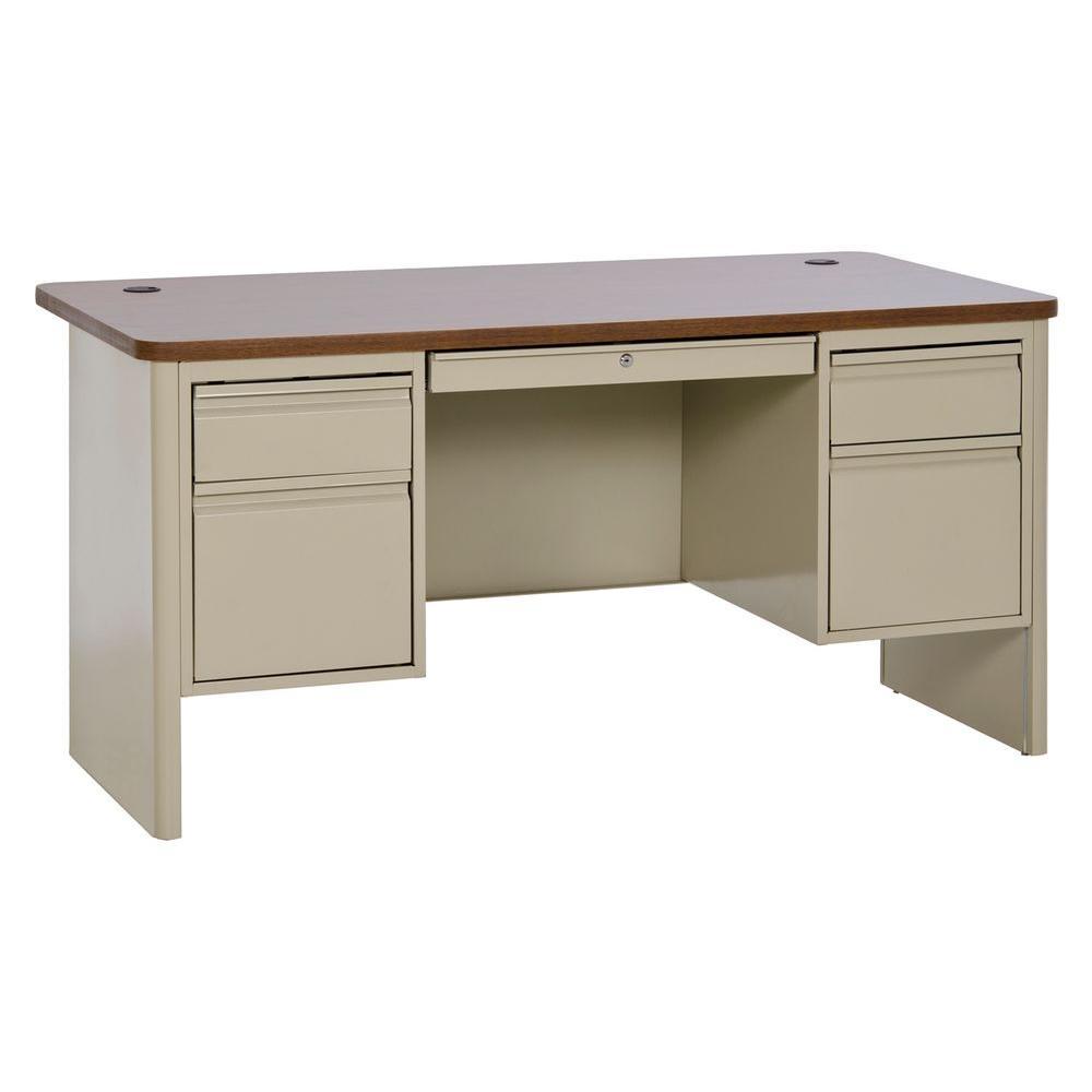 29.5 in. H x 60 in. W x 30 in. D 700 Series Double Pedestal Teachers Desk in Putty/Medium Oak