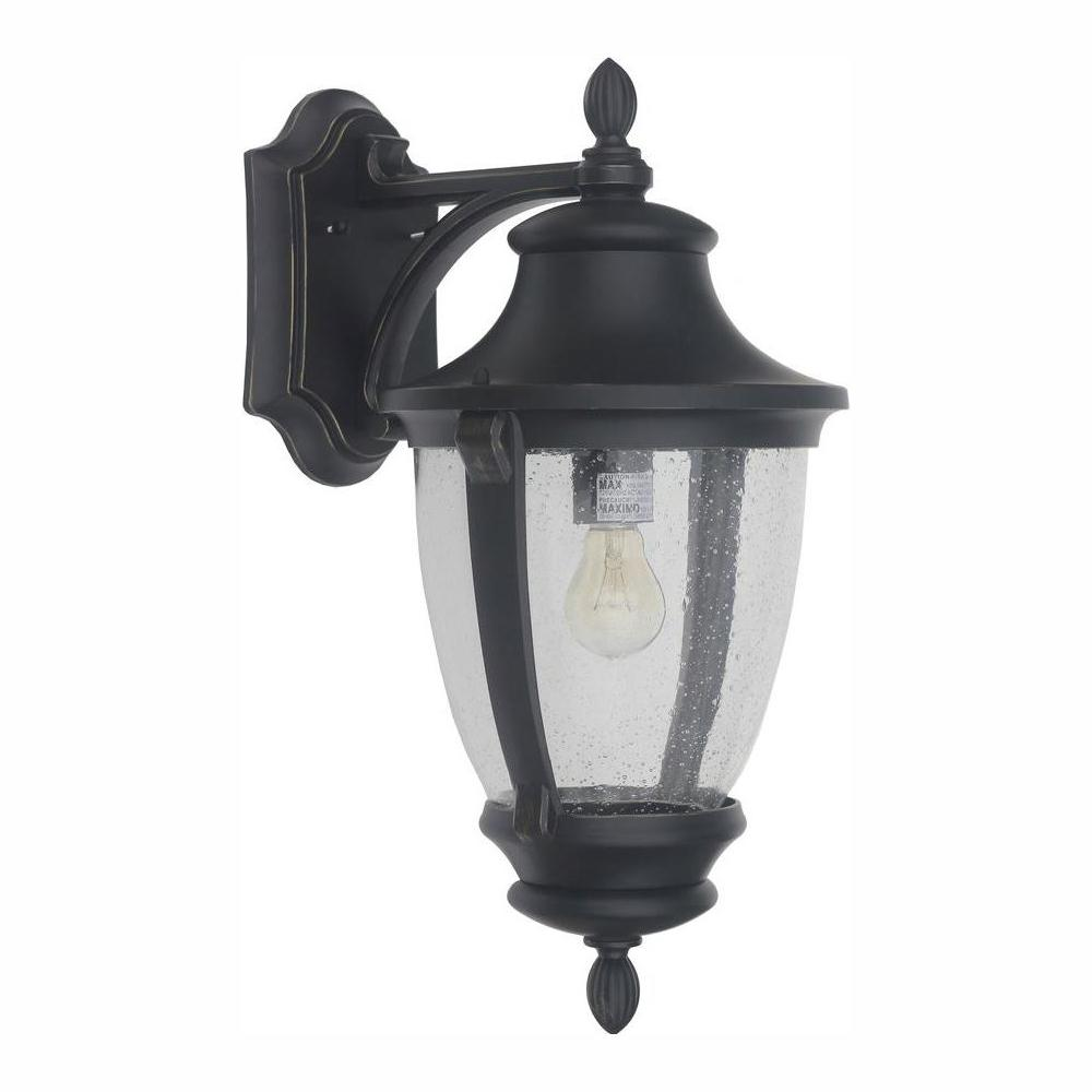HomeDecoratorsCollection Home Decorators Collection Wilkerson 1-Light Black Outdoor Wall Lantern Sconce