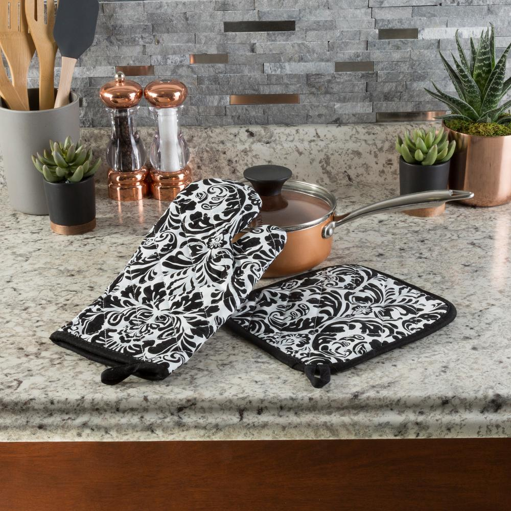 Lavish Home Quilted Cotton Black Heat Flame Resistant Oven Mitt And Pot Holder Set