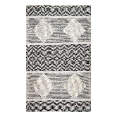 Oboto Hand-Loomed Tribal Black 8 ft. x 10 ft. Area Rug