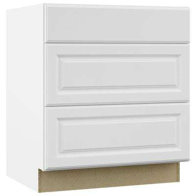 Hampton Assembled 30x34.5x24 in. Pots and Pans Drawer Base Kitchen Cabinet in Satin White
