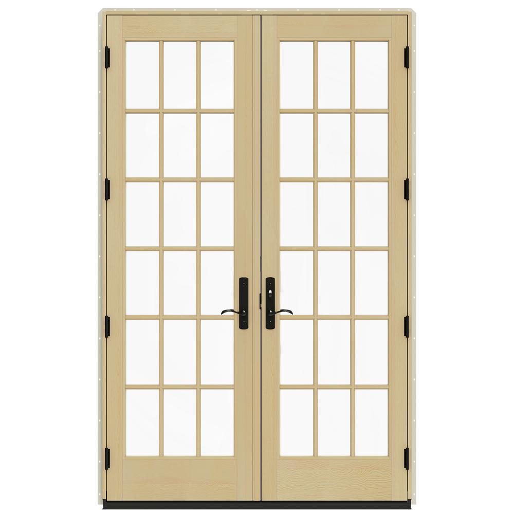 Jeld wen 60 in x 96 in w 4500 brilliant white clad wood for White wooden french doors