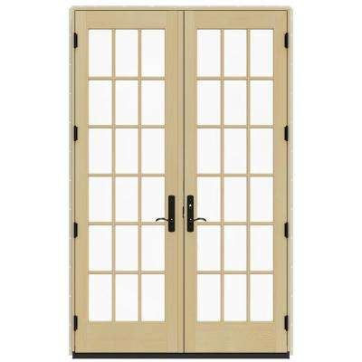 60 in. x 96 in. W-4500 Hartford Green Clad Wood 18 Lite Inswing French Patio Door w/Lacquered Interior