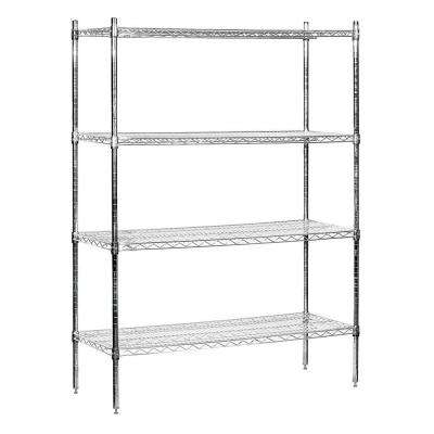 9600S Series 48 in. W x 74 in. H x 18 in. D Industrial Grade Welded Wire Stationary Wire Shelving in Chrome