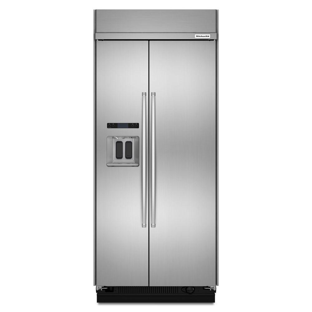 Kitchenaid 36 in w 20 8 cu ft built in side by side for Outdoor kitchen refrigerators built in
