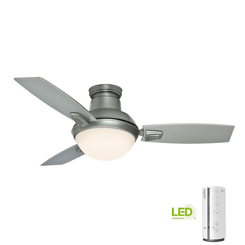 Casablanca Verse 44 in. LED Indoor/Outdoor Satin Nickel Ceiling Fan ...