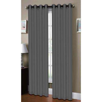 Semi-Opaque Raphael Heathered Faux-Linen Extra-Wide 96 in. L Grommet Curtain Panel Pair, Grey (Set of 2)