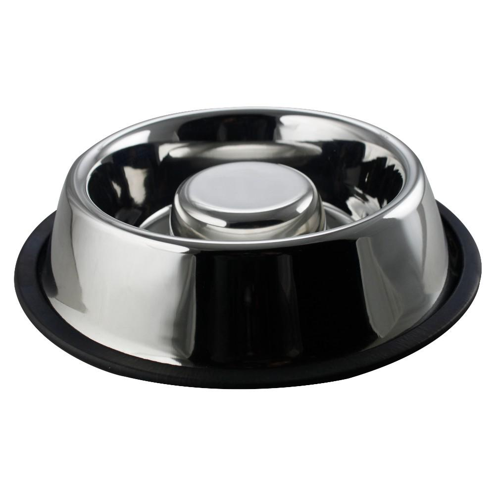 Boomer N Chaser Large Anti Skid Stainless Steel Slow Feeder Pet Bowl