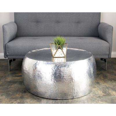Silver Contemporary Hammered Aluminum Coffee Table