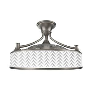 Anderson 22in. LED Indoor/Outdoor Brushed Nickel Ceiling Fan with Remote Control and Chevron Insert Panel