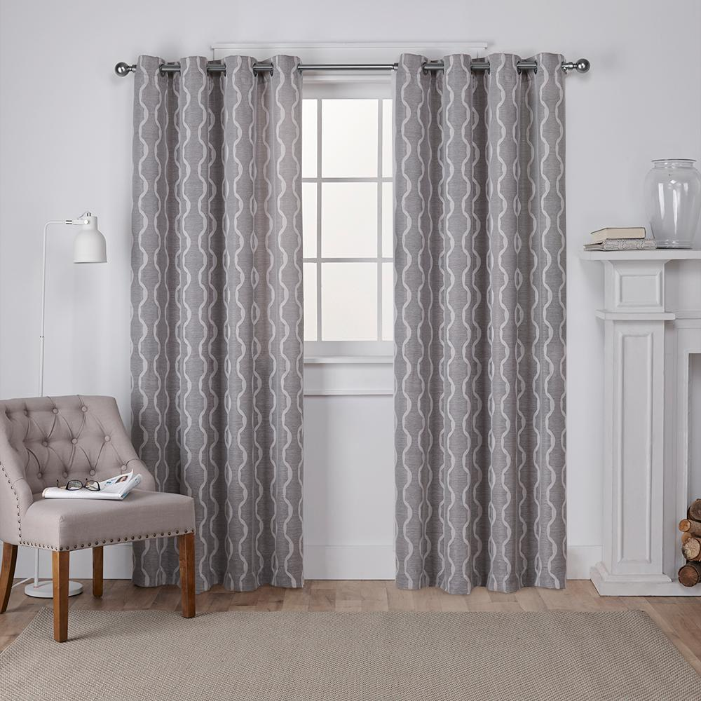 Baroque Ash Grey Textured Linen Look Jacquard Grommet Top Window Curtain