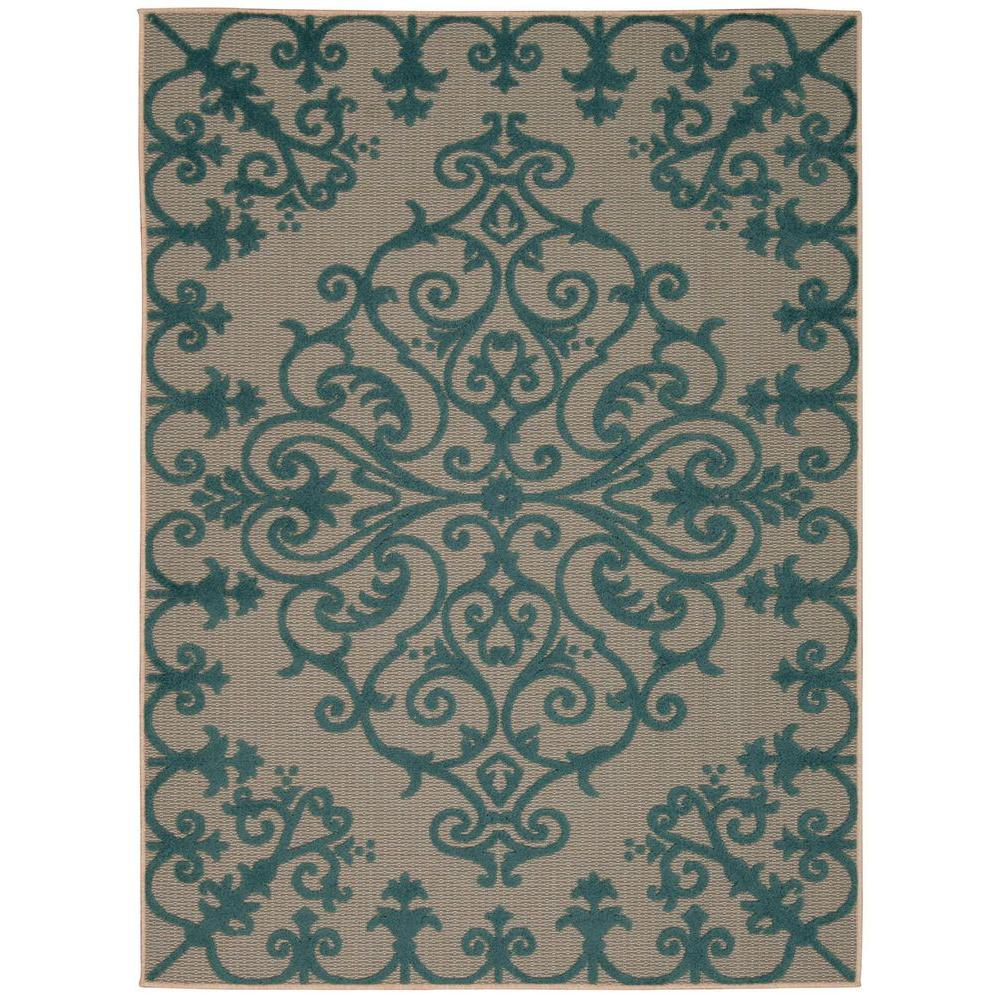 Aloha Aqua 10 ft. x 13 ft. Indoor/Outdoor Area Rug