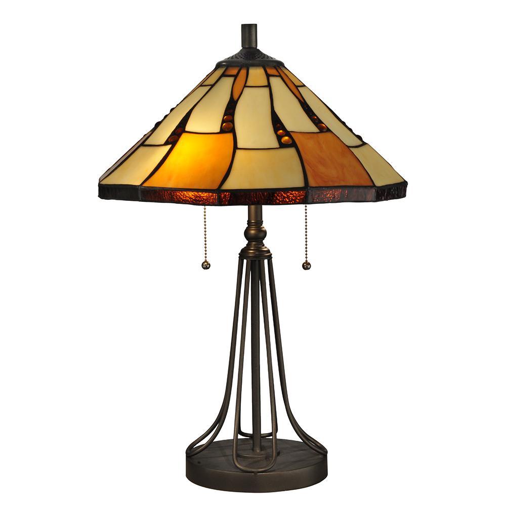 23.5 in. Dark Bronze Nero Table Lamp with Tiffany Art Glass Shade