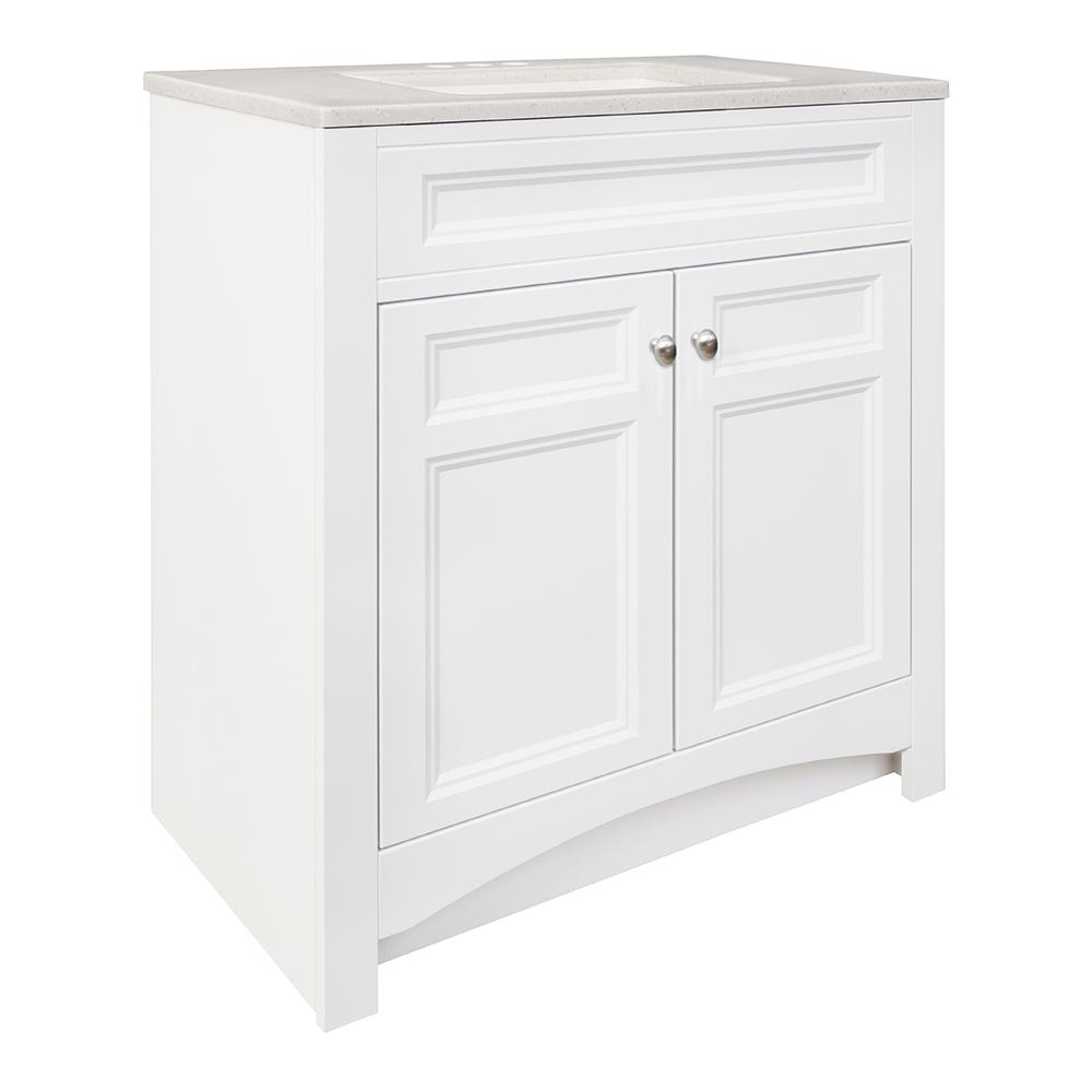 Glacier Bay Modular 30-1/2 in. W Bath Vanity in White with Solid Surface Technology Vanity Top in Silver Fox with White Basin