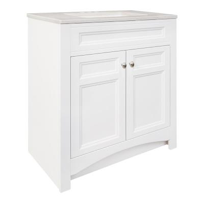 Modular 30-1/2 in. W Bath Vanity in White with Solid Surface Technology Vanity Top in Silver Fox with White Basin