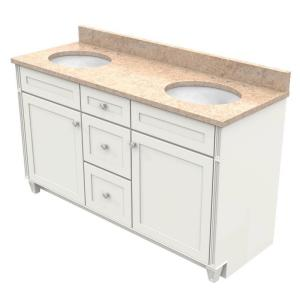 KraftMaid 60 inch Vanity in Dove White with Natural Quartz Vanity Top in Khaki Cream and White Double Basin by KraftMaid
