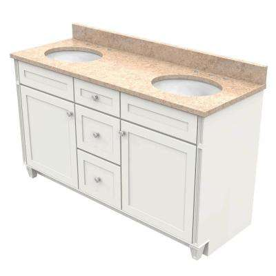 60 in. Vanity in Dove White with Natural Quartz Vanity Top in Khaki Cream and White Double Basin