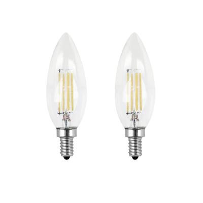 40-Watt Equivalent B10 Candelabra Dimmable Filament CEC Clear Glass Chandelier LED Light Bulb, Daylight (2-Pack)