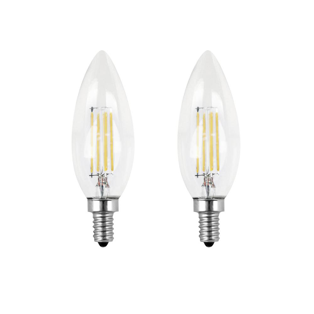 Feit Electric 40-Watt Equivalent B10 Candelabra Dimmable Filament CEC Clear Glass Chandelier LED Light Bulb, Daylight (2-Pack)