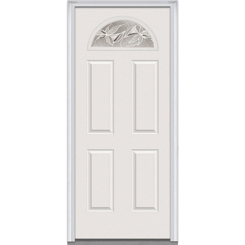 Milliken Millwork 34 in. x 80 in. Lasting Impressions Decorative Glass 1/4 Arch Lite Primed White Fiberglass Smooth Prehung Front Door