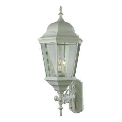 Classical 3-Light White Outdoor Wall Mount Lantern