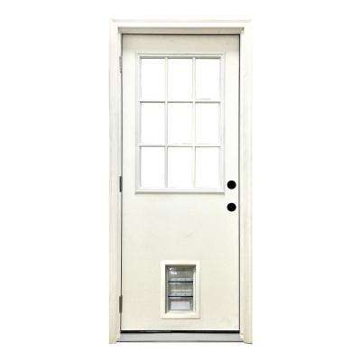 32 in. x 80 in. Classic 9 Lite RHOS White Primed Textured Fiberglass Prehung Front Door with Med Pet Door