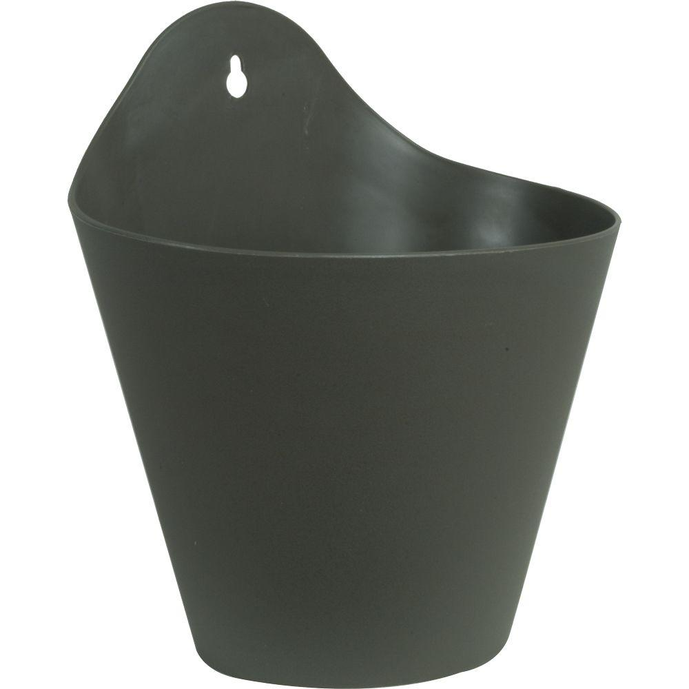 Mela 8-1/2 in. Dark Gray Plastic Wall Planter
