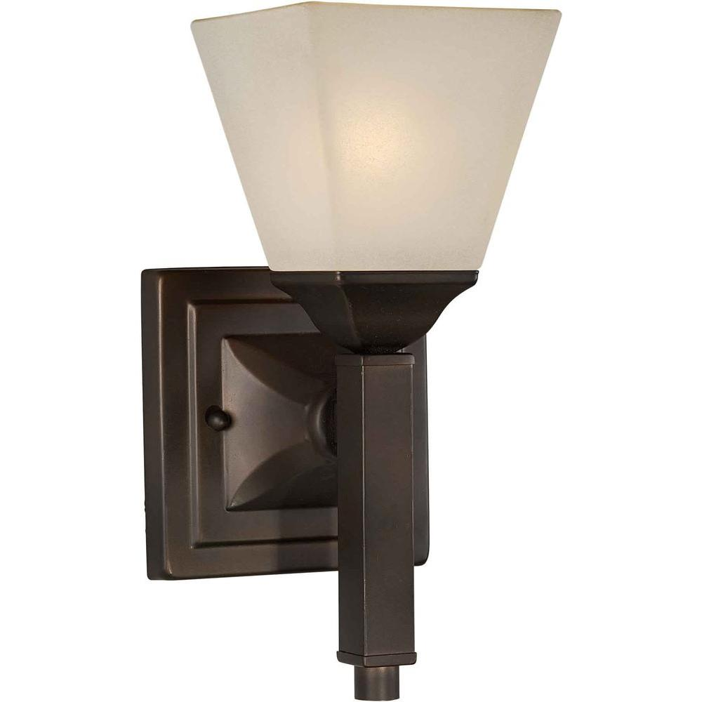 Talista 1-Light Antique Bronze Sconce with Shaded Umber Glass