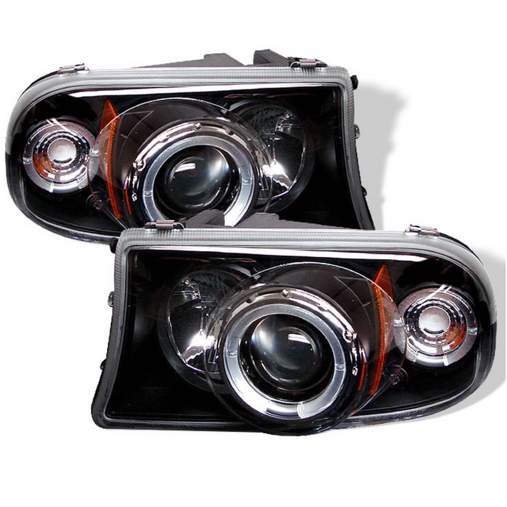 Dodge Dakota 97 04 Durango 98 03 1pc Projector Headlights Led Halo Replaceable Leds Black