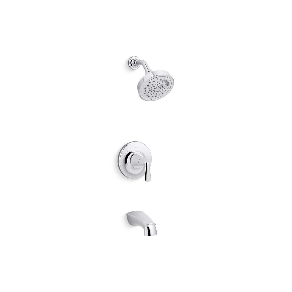 kohler shower tub combo. KOHLER Elmbrook 1 Handle 3 Spray Wall Mount Tub and Shower Faucet in  Polished Chrome Valve Included R21997 4E CP The Home Depot