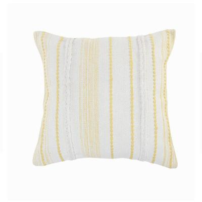 Textured White / Yellow Striped Cottage Woven 20 in. x 20 in. Throw Pillow