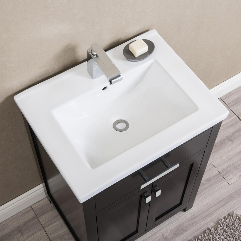 Myra 24 in. Bath Vanity in Espresso with Integrated Ceramics Vanity Top and Sink