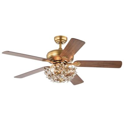 Nickoe 52 in. Gold Indoor Remote Controlled Ceiling Fan with Light Kit