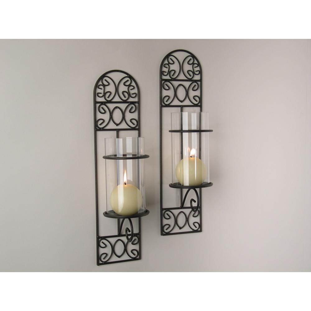 DANYA B Madeira Filigree Brown Metal Wall Candle Sconces (Set Of 2)