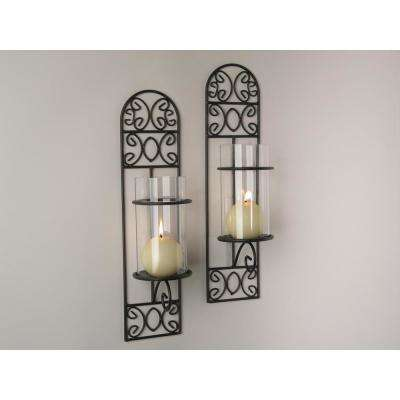 Madeira Filigree Brown Metal Wall Candle Sconces (Set of 2)